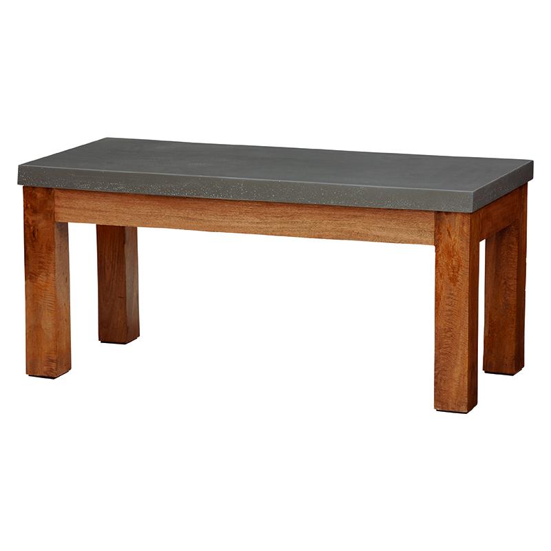 送料無料 コンクリート天板ローテーブル バリ 長方形 木製 南国 リゾート センターテーブル【RT-1487】