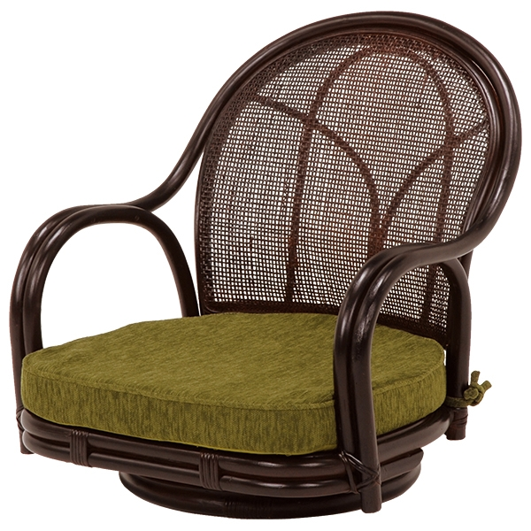 送料無料 座椅子 回転座椅子【2個セット】 和室 フロアチェア 椅子 ダークブラウン いす ローチェア チェア 茶色【RZ-341DBR】