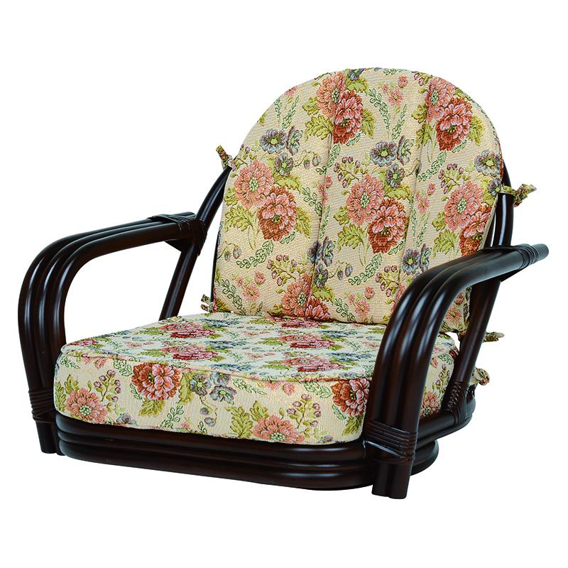 送料無料 座椅子 回転座椅子 いす 旅館 チェア ダークブラウン ラタン 温泉 肘掛け ローチェア 和室【RZ-931DBR】