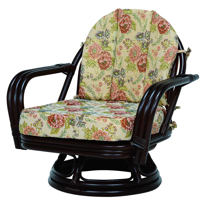送料無料 座椅子 回転座椅子 ダークブラウン 旅館 ラタン 和室 チェア いす 温泉 茶色 肘掛け【RZ-932DBR】