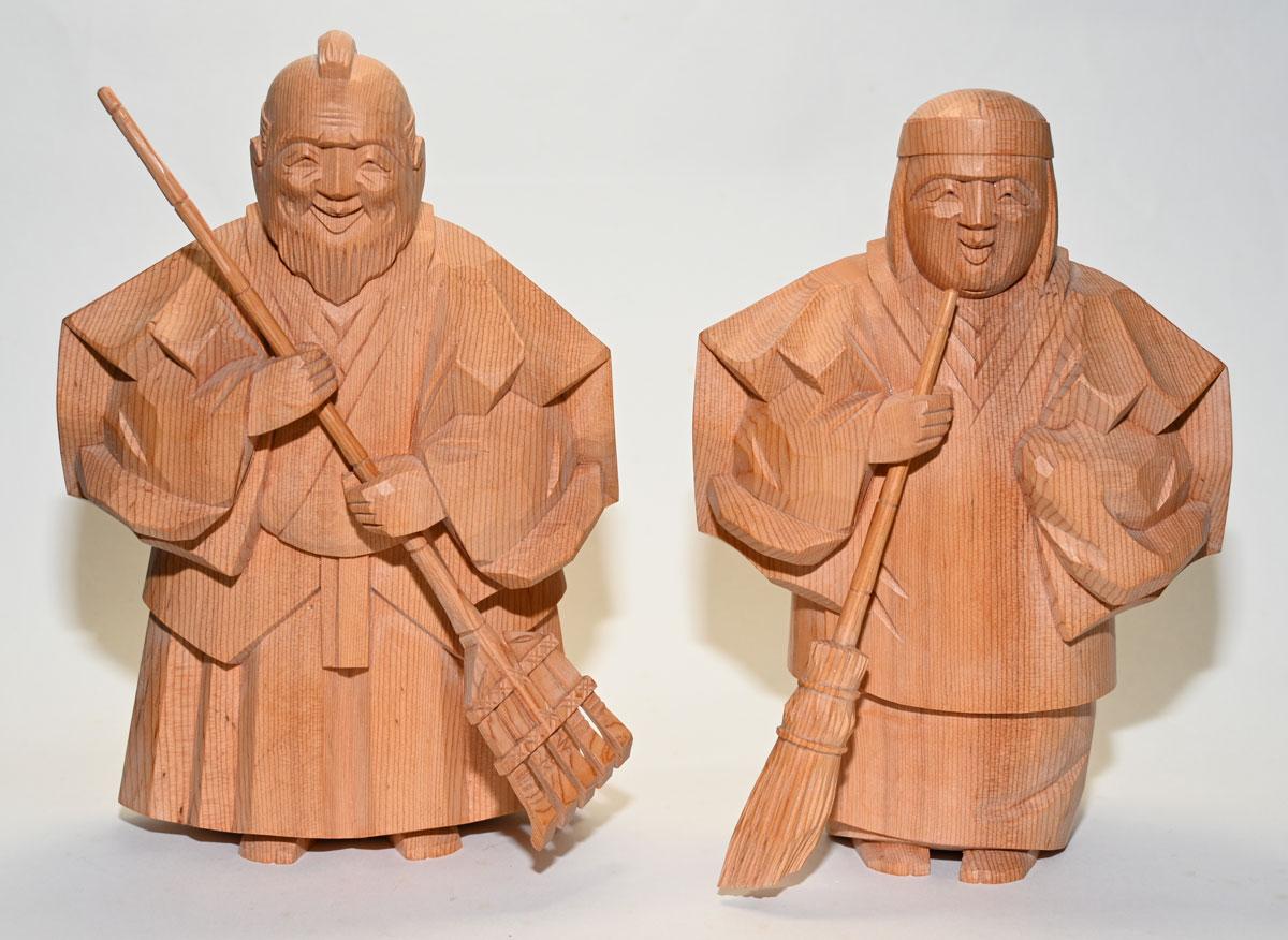 【一位一刀彫り】高砂人形 6寸 博之作