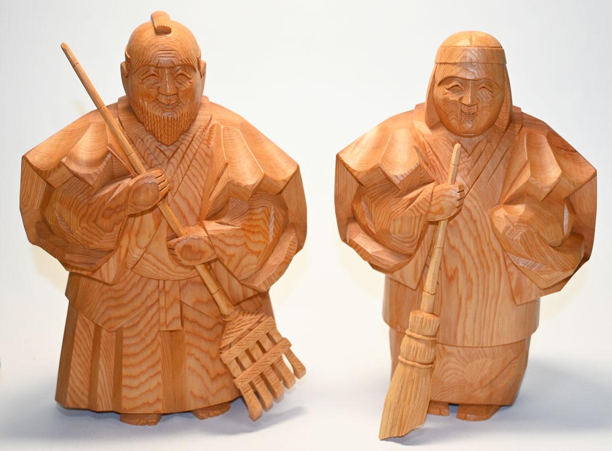【一位一刀彫り】高砂人形 7寸 博之作