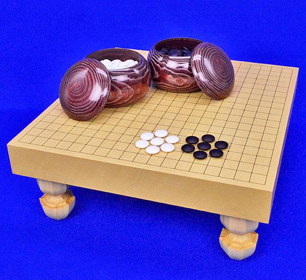 囲碁 新かや2寸一枚板足付碁盤セット(ガラス碁石梅・栗碁笥大)