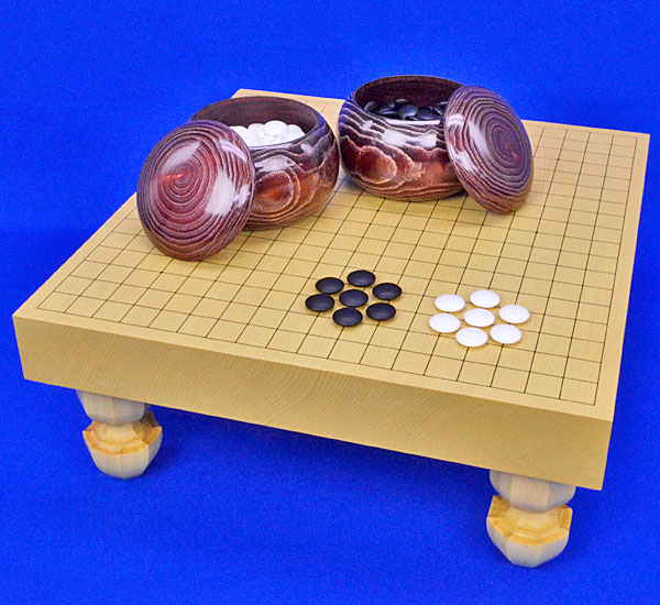 囲碁 新かや2寸一枚板足付碁盤セット(蛤碁石25号・栗碁笥)