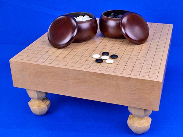 囲碁 新桂3寸足付碁盤セット(ガラス碁石梅・プラ銘木特大)