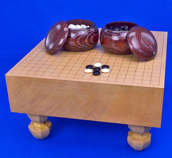 囲碁 新桂4寸足付碁盤セット(ガラス碁石梅・木製碁笥栗大)
