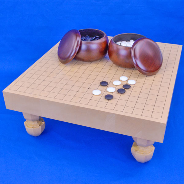 囲碁 新桂2寸ハギ足付碁盤セット(ガラス碁石梅・プラ銘木大)