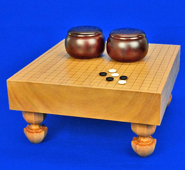 囲碁 本桂3寸足付碁盤セット(ガラス碁石梅・プラ銘木特大)
