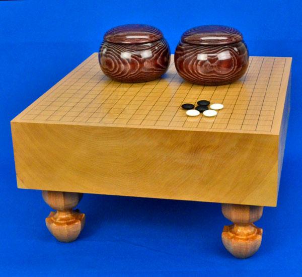 囲碁セット 本桂4寸足付碁盤セット(ガラス碁石梅・木製碁笥栗大)