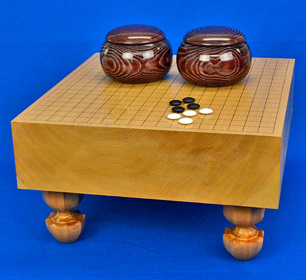 囲碁セット 本桂4寸足付碁盤セット(蛤碁石25号・栗碁笥大)