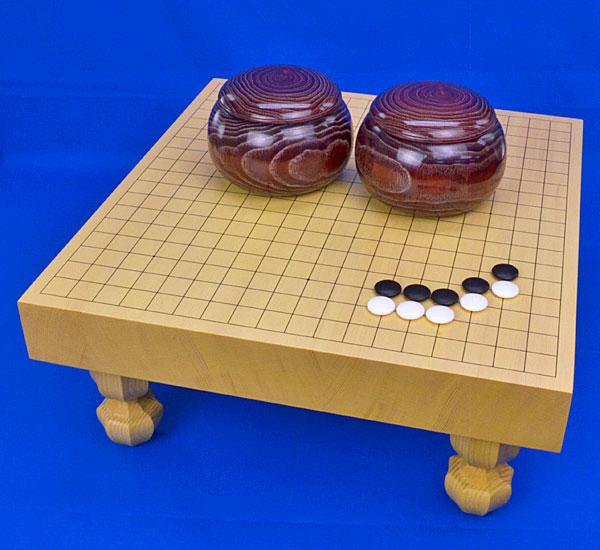 囲碁セット 新かや2寸ハギ足付碁盤セット(蛤碁石25号・栗碁笥)