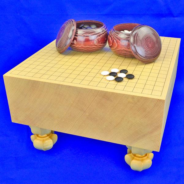 囲碁セット 新かや5寸足付碁盤セット(蛤碁石25号・栗碁笥大)