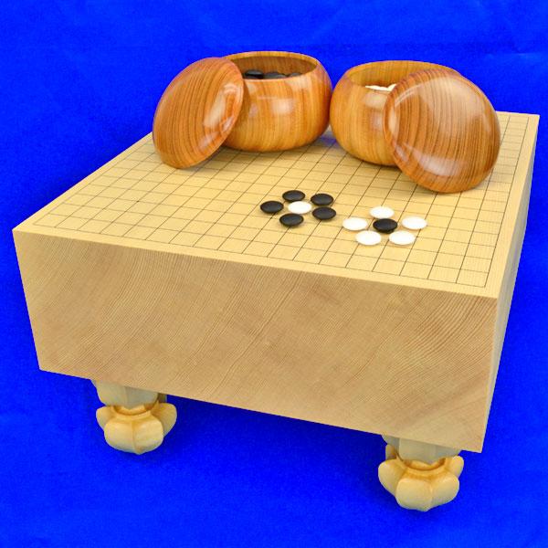 囲碁セット 新かや5寸足付碁盤セット(蛤碁石30号・欅碁笥特大)