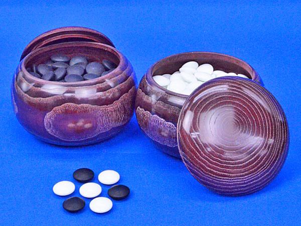 硬質ガラス碁石 新生 竹(厚み約9mm)(木製栗碁笥特大付き)