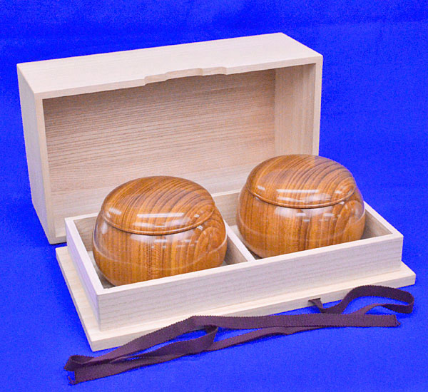 木製碁笥 欅 特大 ※桐製碁笥箱付き