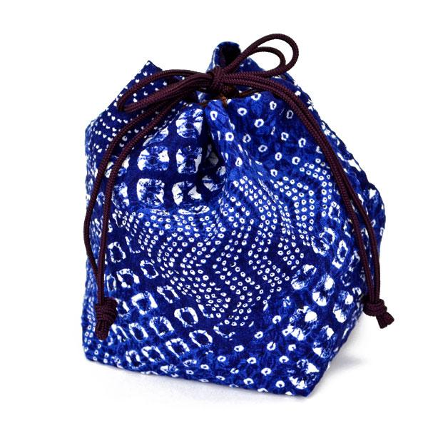 将棋駒袋 絞り柄 藍色