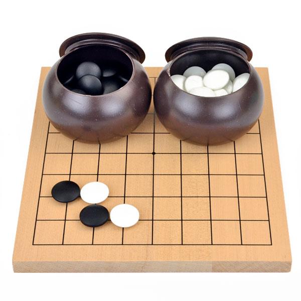 しっかりした木製の9路盤の囲碁入門セット 囲碁セット 木製9路盤セット(ガラス碁石椿・碁笥付)