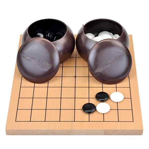 しっかりした木製の9路盤の囲碁入門セット 囲碁セット 木製9路盤セット(プラ碁石椿・碁笥付)