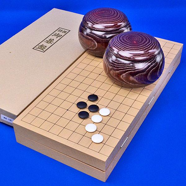 囲碁セット 新桂10号折碁盤セット(蛤碁石25号・木製碁笥栗大)