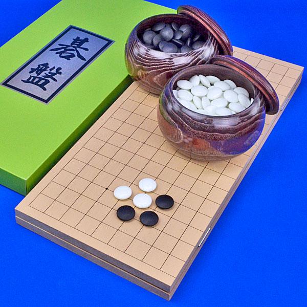 囲碁セット 新桂5号折碁盤セット(ガラス碁石梅・木製碁笥栗大)