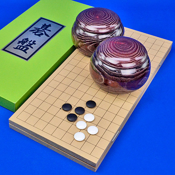 囲碁セット 新桂5号折碁盤セット(蛤碁石22号・栗碁笥大)