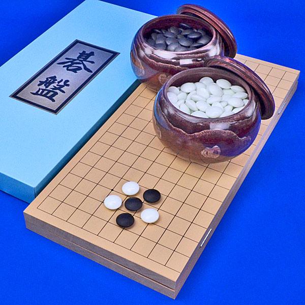 囲碁セット 新桂6号折碁盤セット(ガラス碁石竹・栗碁笥特大)