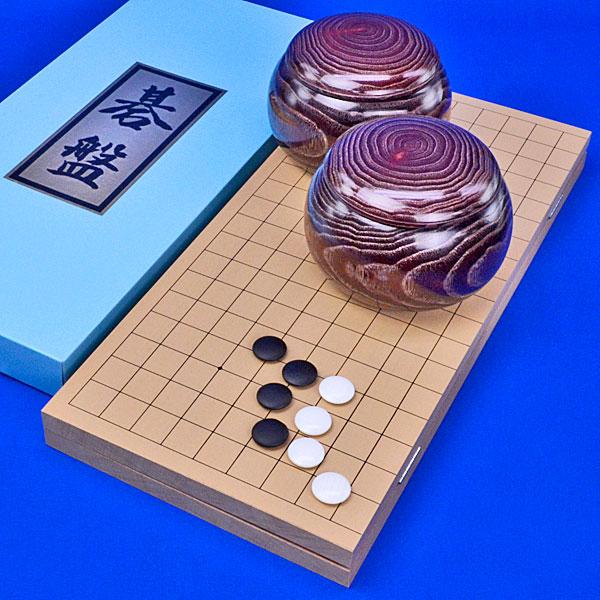 囲碁セット 新桂6号折碁盤セット(蛤碁石25号・木製碁笥栗大)