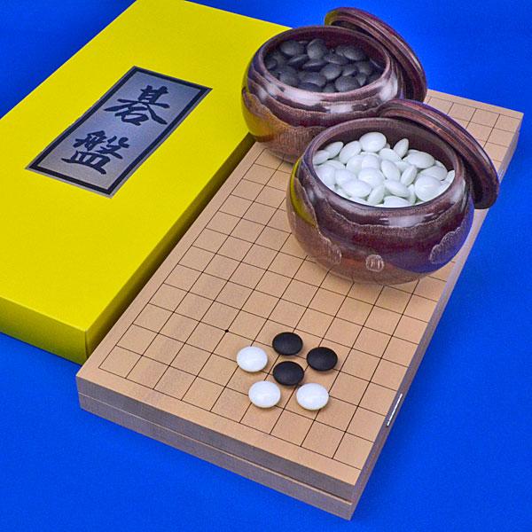 囲碁セット 新桂7号折碁盤セット(ガラス碁石竹・栗碁笥特大)