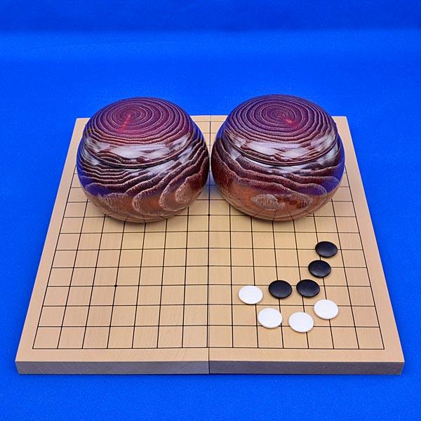 連珠セット 新桂7号折連珠盤セット(蛤碁石25号と木製碁笥栗)