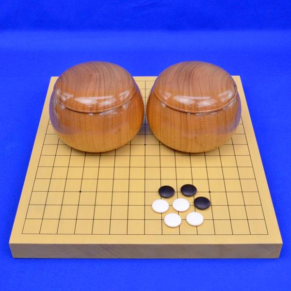 連珠セット 新かや1寸卓上連珠盤セット(蛤碁石28号・木製碁笥桜)