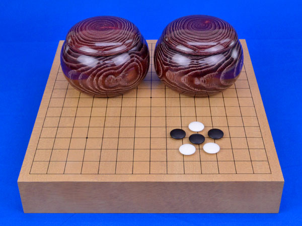 卓上2寸連珠盤セット(新桂2寸卓上連珠盤とガラス碁石竹と木製栗碁笥のセット)
