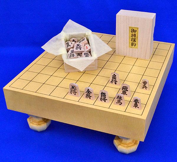 将棋セット 新かや2寸一枚板足付将棋盤セット(木製将棋駒アオカ押し駒)