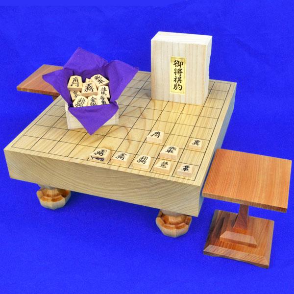 将棋セット 国産栓2寸一枚板足付将棋盤セット(木製将棋駒黄楊上彫駒)