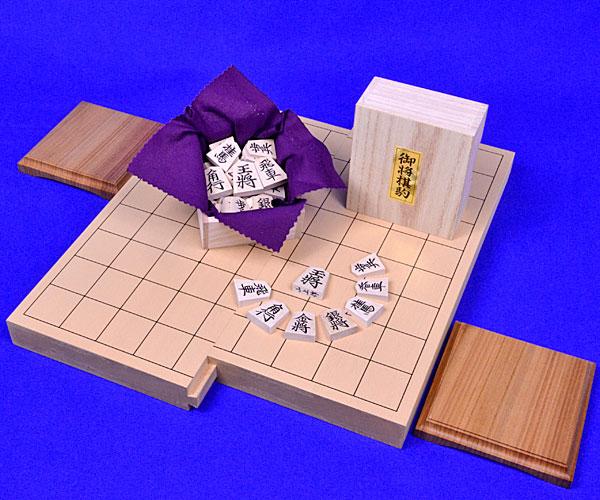 木製将棋セット 新桂1寸スライド将棋盤セット(木製将棋駒楓上彫駒)