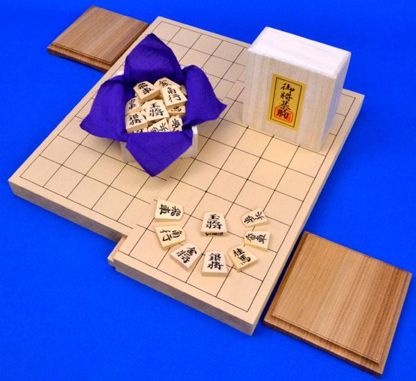 将棋セット 新桂1寸スライド将棋盤セット(将棋駒黄楊錦旗彫駒)