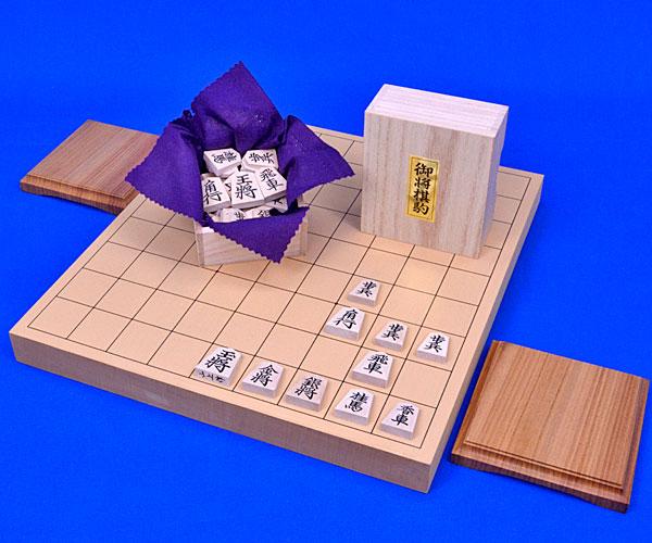 木製将棋セット 新桂1寸卓上将棋盤セット(木製将棋駒楓上彫駒)