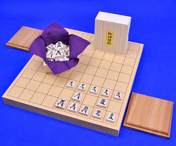 将棋セット 新桂1寸卓上将棋盤セット(木製将棋駒楓漆書き駒)