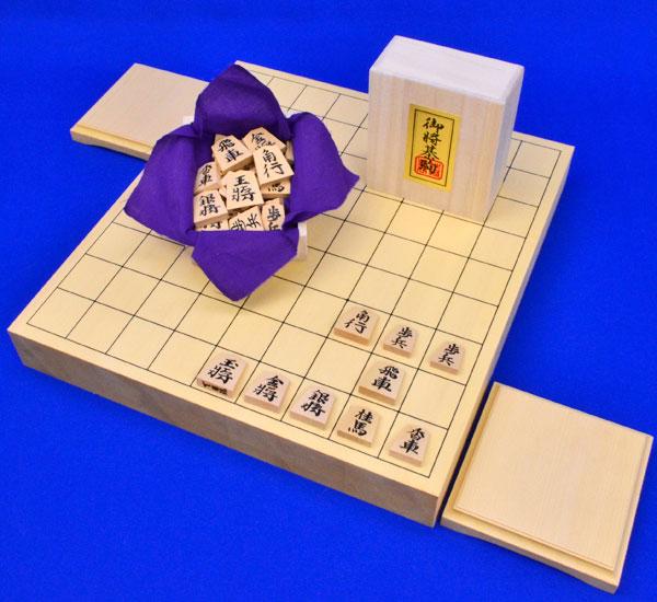 将棋セット ヒバ1寸5分卓上将棋盤セット(将棋駒黄楊錦旗彫駒)