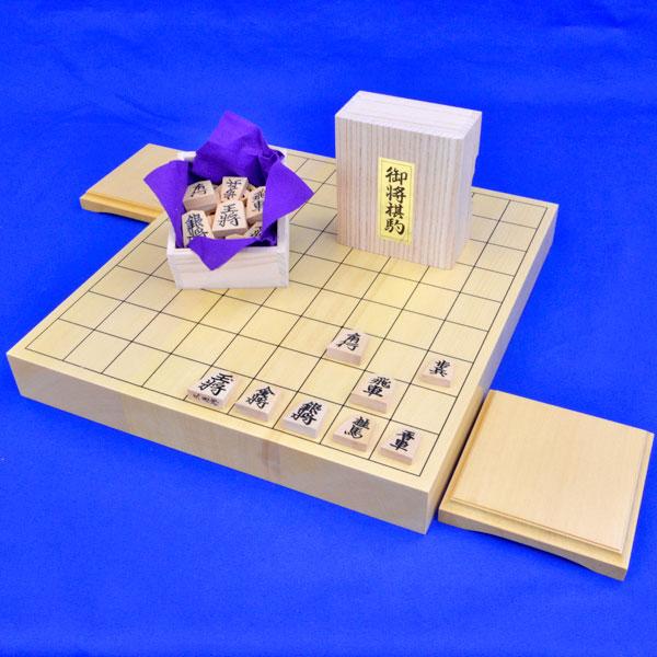 木製将棋セット ヒバ1寸5分卓上将棋盤セット【特売品】(将棋駒黄楊上彫駒)