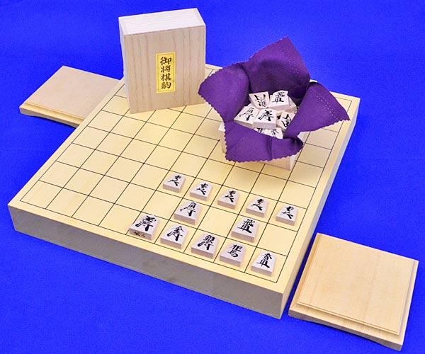 木製将棋セット ヒバ1寸5分卓上将棋盤セット(木製将棋駒楓漆書き駒)