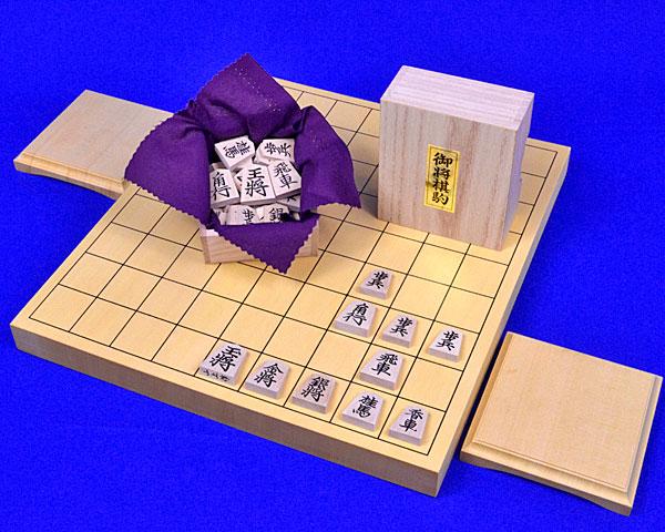 木製将棋セット ヒバ1寸卓上将棋盤セット(木製将棋駒楓上彫駒)