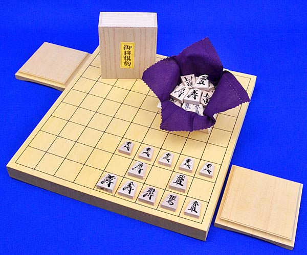 木製将棋セット ヒバ1寸卓上将棋盤セット(木製将棋駒楓漆書き駒)