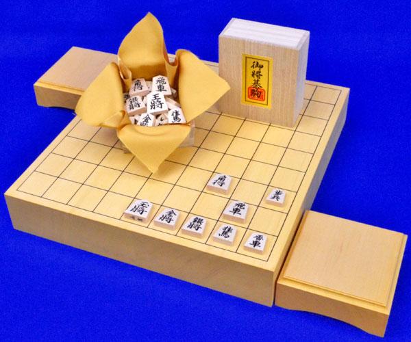 木製将棋セット ヒバ2寸ハギ卓上将棋盤セット(将棋駒白椿上彫駒)