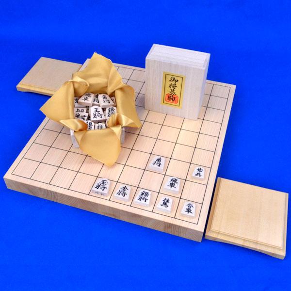 木製将棋 セット 国産桧1寸卓上将棋盤セット(将棋駒白椿上彫駒)