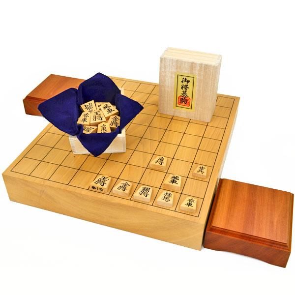 将棋セット 本桂2寸一枚板卓上将棋盤セット(将棋駒黄楊上彫駒)