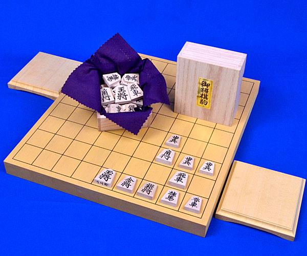 木製将棋セット 新かや1寸卓上将棋盤セット(木製将棋駒楓上彫駒)