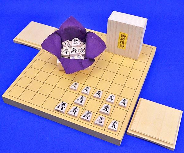 木製将棋セット 新かや1寸卓上将棋盤セット(木製将棋駒楓漆書き駒)