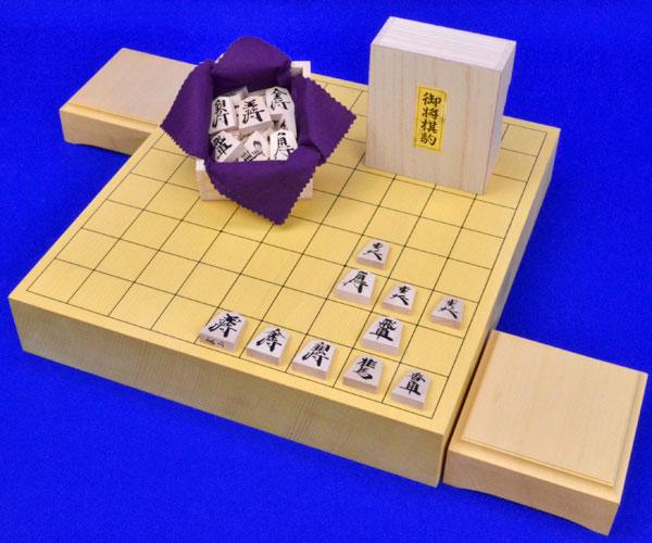 将棋セット 新かや2寸一枚板卓上将棋盤セット(木製将棋駒楓漆書き駒)