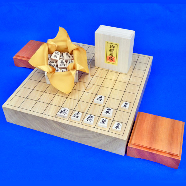 将棋セット 栓2寸一枚板卓上将棋盤セット(木製将棋駒白椿上彫駒)
