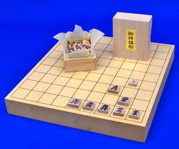 木製将棋セット ヒバ1寸5分卓上将棋盤セット(木製将棋駒アオカ押し駒)